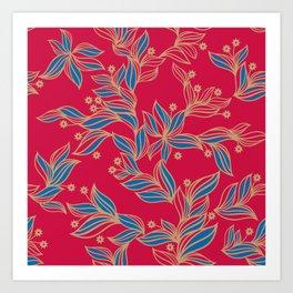 Winter Floral Pattern Art Print