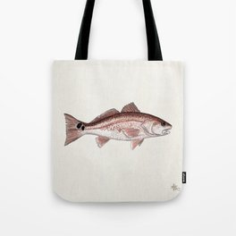 """Redfish"" by Amber Marine - (Red Drum) Sciaenops ocellatus ~Watercolor Illustration,(Copyright 2013) Tote Bag"