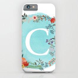 Personalized Monogram Initial Letter C Blue Watercolor Flower Wreath Artwork iPhone Case