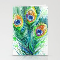 peacock feather Stationery Cards featuring Peacock feather  by Slaveika Aladjova