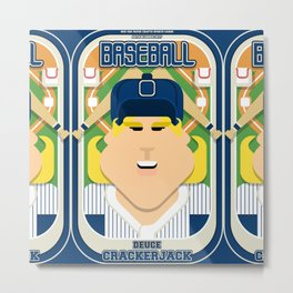 Baseball Blue Pinstripes - Deuce Crackerjack - Hazel version Metal Print