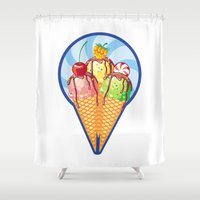 ice cream Shower Curtains featuring Ice cream by LaDa