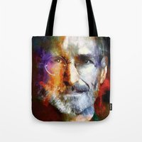steve jobs Tote Bags featuring Steve Jobs by Richard Michaud