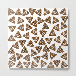 Pile of Poop Smiling Poo Emoji Pattern Metal Print