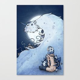 Mia & The Unicorn Bear Canvas Print