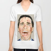 american psycho V-neck T-shirts featuring American Psycho by JackyAttacky