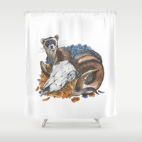 ferret Shower Curtains featuring ferret and skull by LizSchafroth