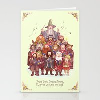 middle earth Stationery Cards featuring The loudest carollers in Middle Earth by Alicia MB