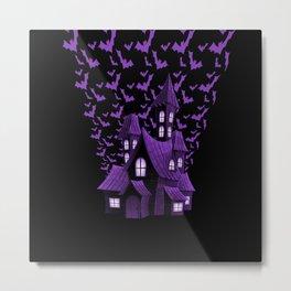 Purple Halloween Haunted House Bat Flyover Metal Print