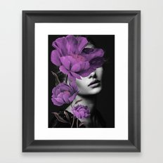 Woman With Purple Flowers Framed Art Print