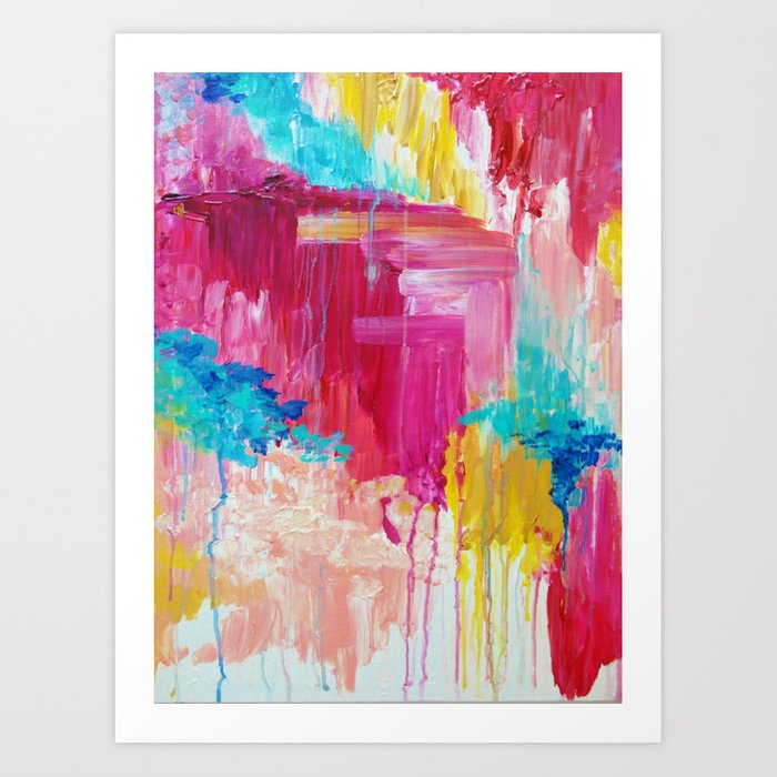 ELATED - Beautiful Bright Colorful Modern Abstract Painting Wild Rainbow Pastel Pink Color Kunstdrucke