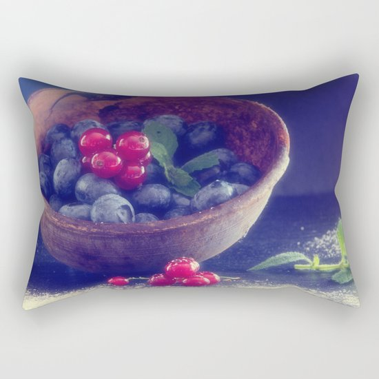 Dark blue berries contrasting with bright red berries Rectangular Pillow