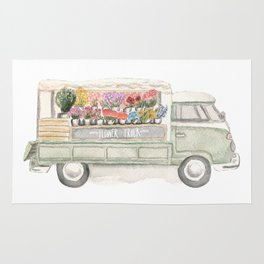 Flower Truck Watercolor Print Mint Rug