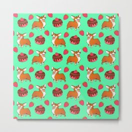 Cute happy playful funny puppy corgi dogs, sweet adorable yummy chocolate cake cartoon and red summer strawberries light pastel teal green design. Metal Print
