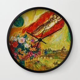Above Paris (and bouquet of flowers) by Marc Chagall Wall Clock