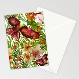 Aloha - Tropical Jungle Bird, Butterfly and Flowers Garden Stationery Cards