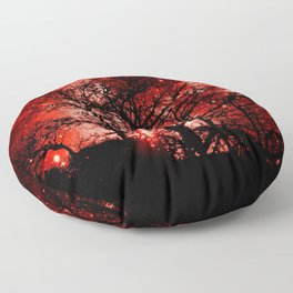 black trees red space Floor Pillow