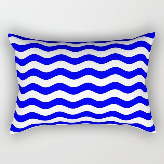 Wavy Stripes (Blue/White) Rectangular Pillow