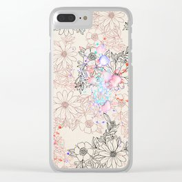 Modern vintage black rose gold watercolor floral Clear iPhone Case