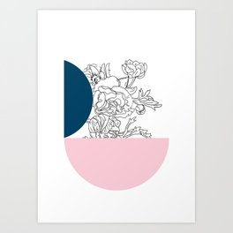 VESSEL - Floral Ink in Peacock & Pink - Cooper and Colleen Art Print