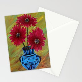 Blue vase with flowers/ still life  Stationery Cards