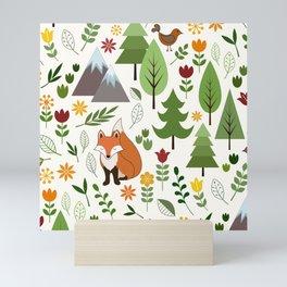 Scandinavian Style Illustrations on Cream Pattern Mini Art Print