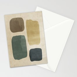 Minimalist Blue and Beige Rustic Brushstrokes #3 Stationery Cards