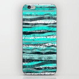 Teal and black stripe decor iPhone Skin
