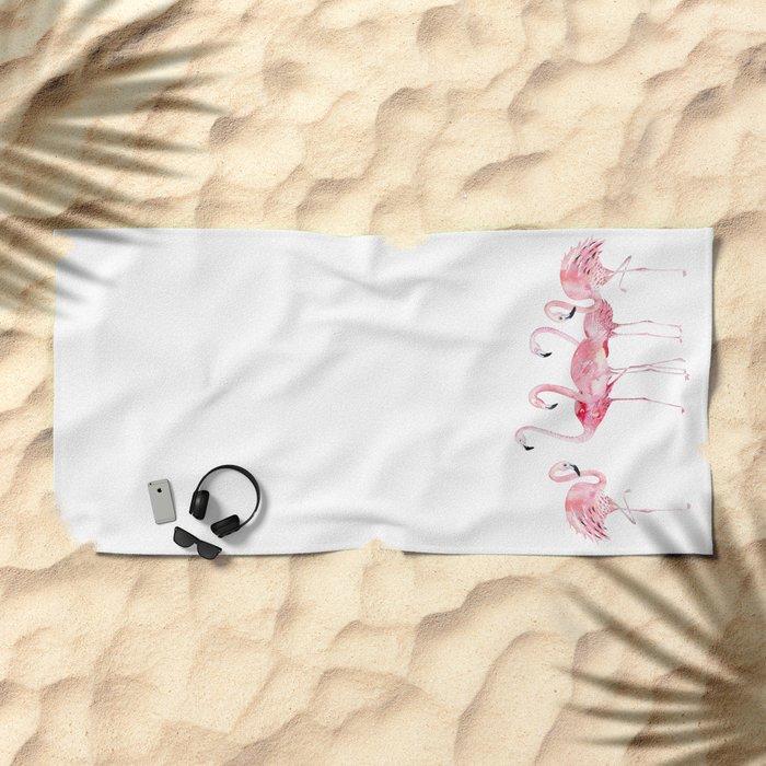 Flamingo Farm- Tropical Animal Bird World Beach Towel