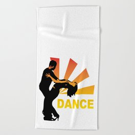dancing couple silhouette - brazilian zouk Beach Towel