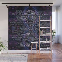 Yoga Asanas / Poses Sanskrit Word Art  Pearl on amethyst Wall Mural