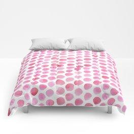 Pink Polka Dot Watercolour Comforters
