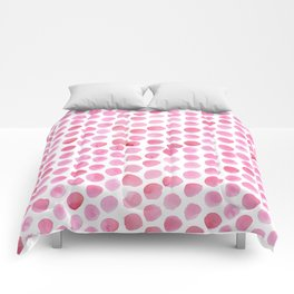 Pink Polka Dot Watercolour Comforters