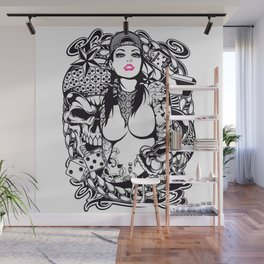 GIRL with SKULL AND SNAKE - PINK Wall Mural