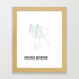 Haystack Mountain, VT - Minimalist Winter Trail Art Framed Art Print