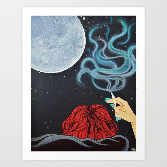 Midnight Toker (#2), Smoking Lady Series Art Print