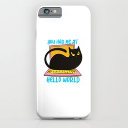 Hello World Programmer Cat Lover iPhone Case