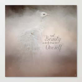 Real Beauty is to be True To Oneself White Peacock Canvas Print