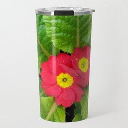 Little red primula flower Travel Mug