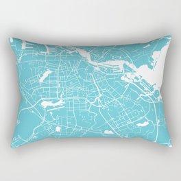 Amsterdam Turquoise on White Street Map Rectangular Pillow