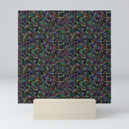 Cyber atomic flowers on black background Mini Art Print