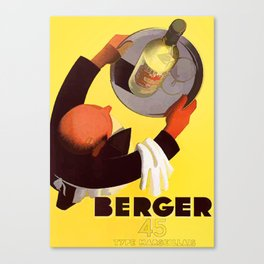 Vintage Berger 45 Wine Advert - Circa 1935 Canvas Print