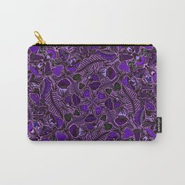 Ultraviolet Mushroom Wood, Field Ferns Leaves  in Lavender Purple Fungi Forest Painting Carry-All Pouch