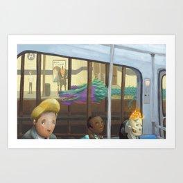 The Adventurers on the subway Art Print