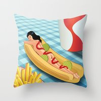 Throw Pillows featuring Hot Dog Girl by Wendy Ding: Illustration