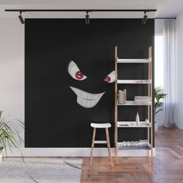 Smiling face with red eyes Wall Mural