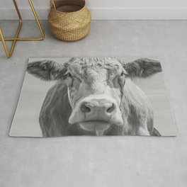 Animal Photography | Highland Cow Portrait Black and White | Farm Animals Rug