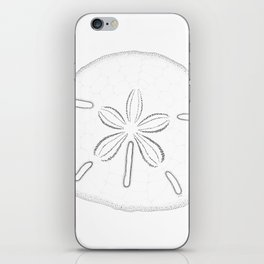 Sand Dollar Blessings - Black on White Pointilism Art iPhone Skin