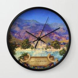 Broadmoor Hotel, Colorado Springs landscape by Maxfield Parrish Wall Clock