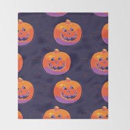 pumpkin with halloween Throw Blanket